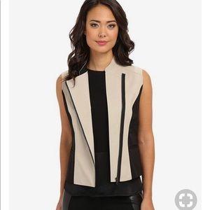 T Tahari Black and Tan sleeves vest